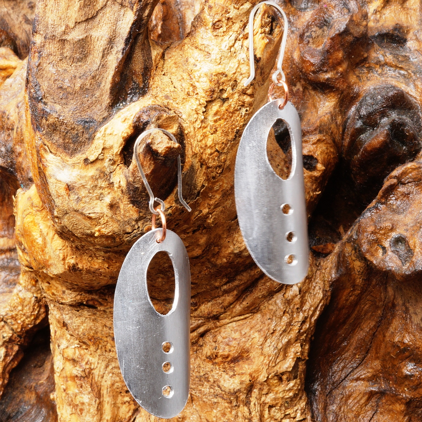 Handmade Alumimium Copper earrings with sterling silver earwires