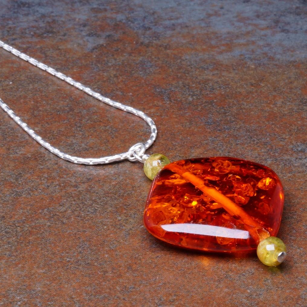 Handmade Sterling Silver Amber Peridot Pendant 01