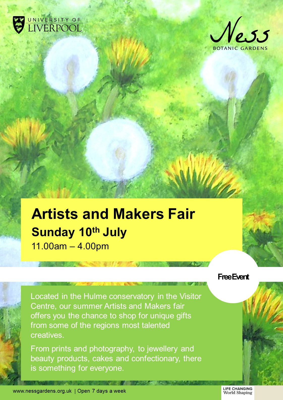 Artists and Makers at Ness Summer Craft Fair Flyer