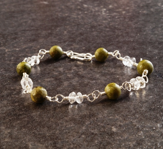 Handmade Vesuvianite Quartz Sterling Silver Wired Bracelet