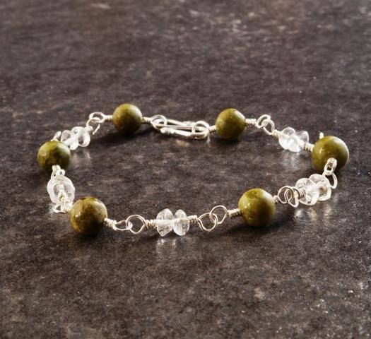 Handmade Vesuvianite Quartz Sterling Silver Wired Bracelet