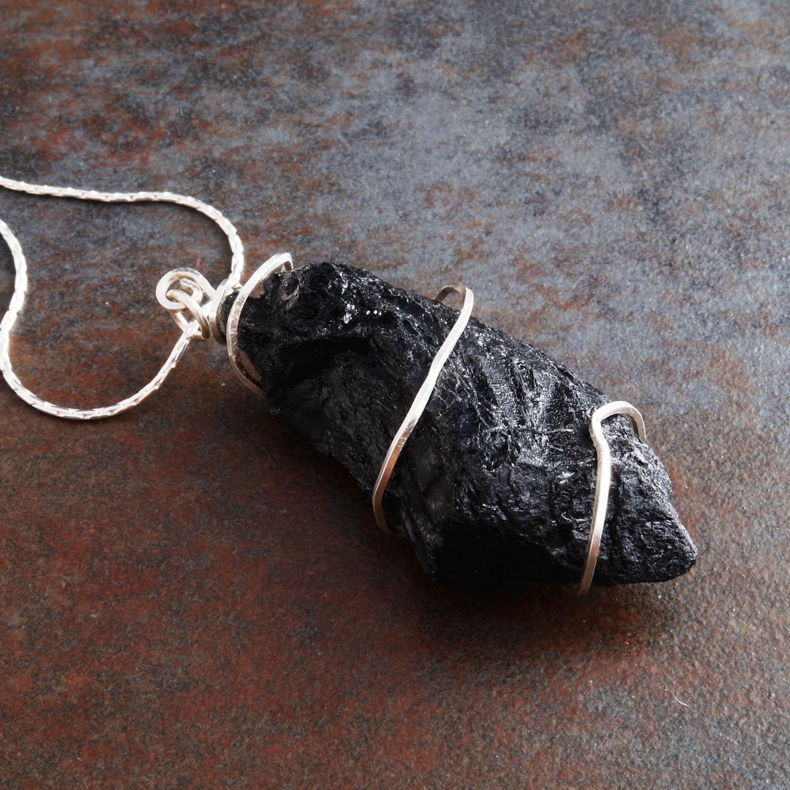 Handmade Sterling Silver Black Tourmaline Pendant 01