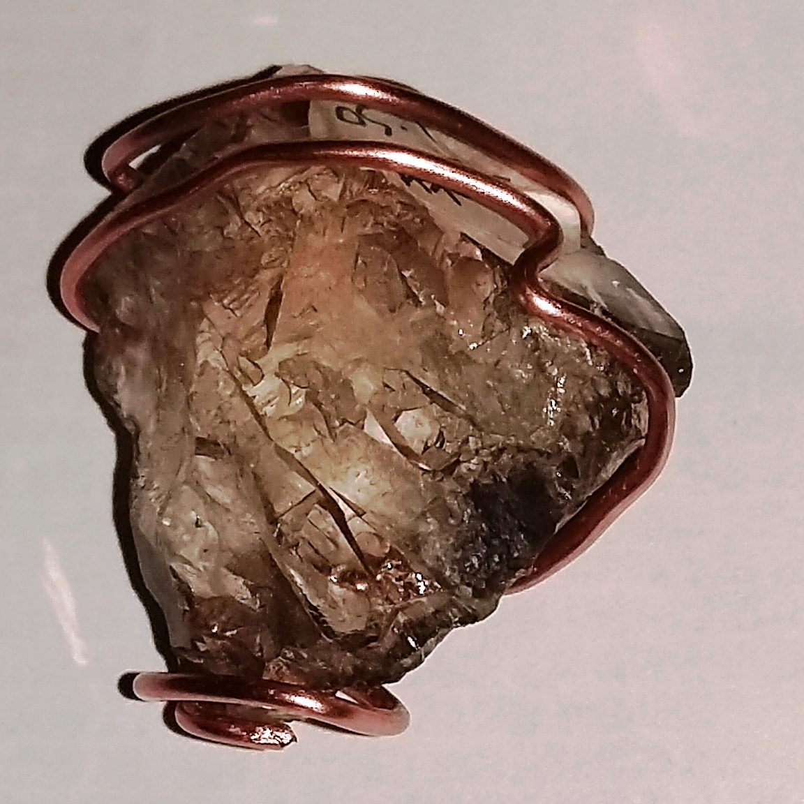 Handmade copper wire wrapped Smokey Quartz Pendant