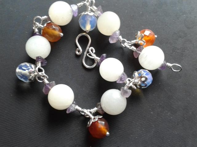Carnelian Quartz Jade Amethyst Bracelet