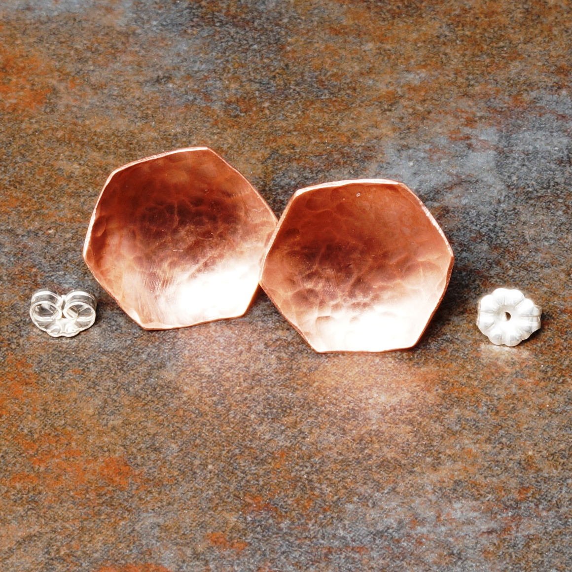 Handmade Concave Copper Hammered Hexagonal Studs
