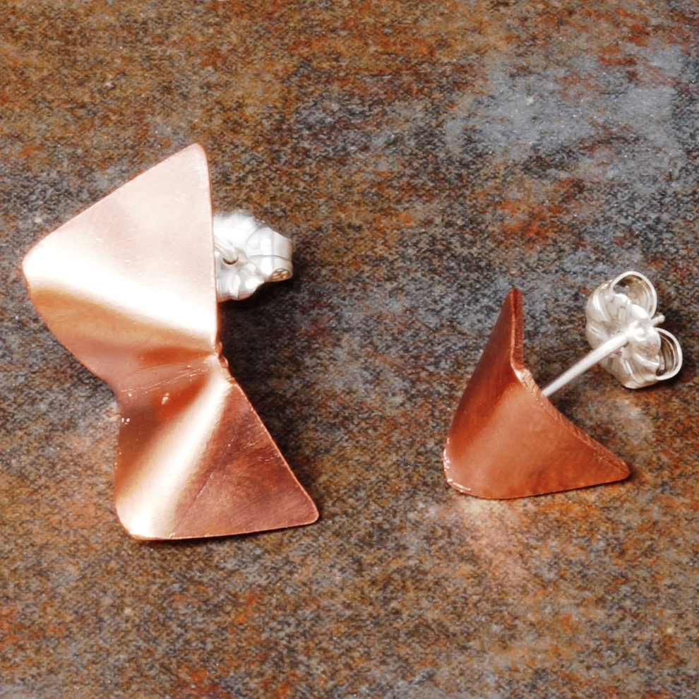 Handmade Concept Asymmetric Copper studs with sterling silver posts