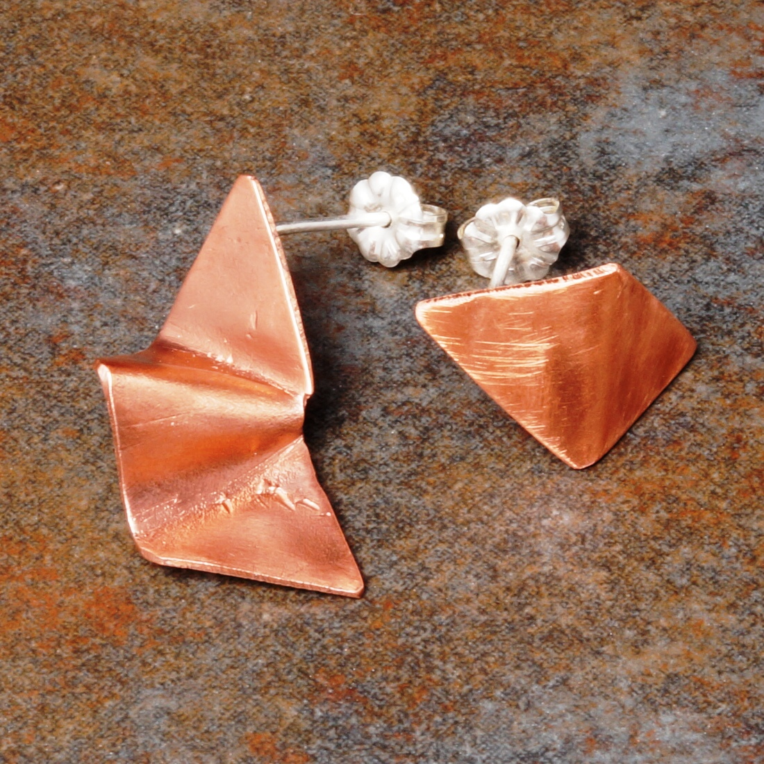 Concept Asymmetric Copper Studs with sterling silver posts