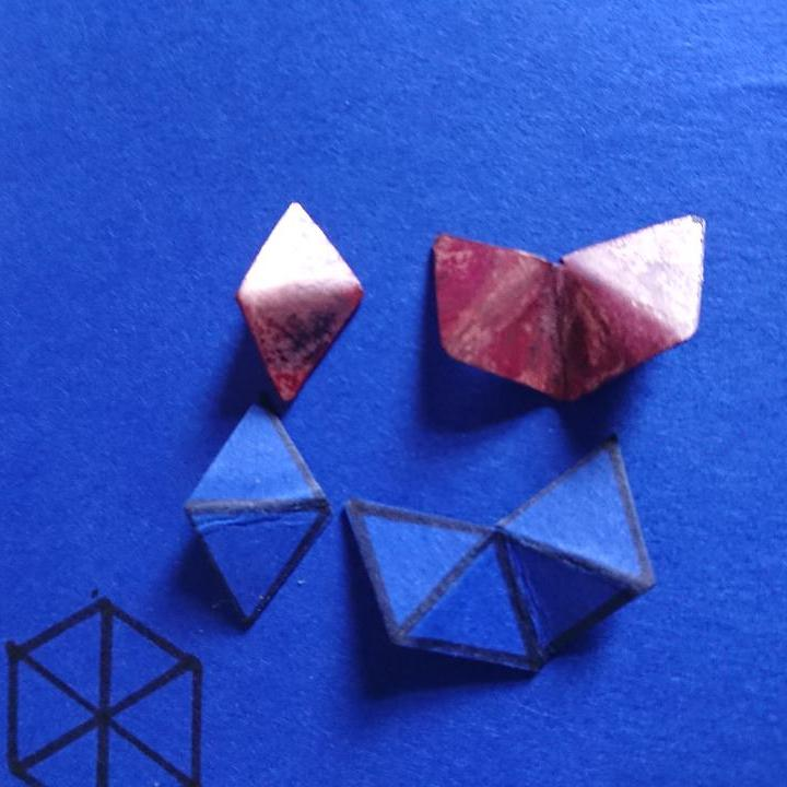 First stage of creating the asymmetric copper stud earrings