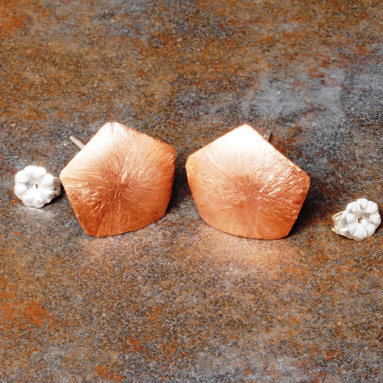 Handmade Convex Copper Pentagon etched studs