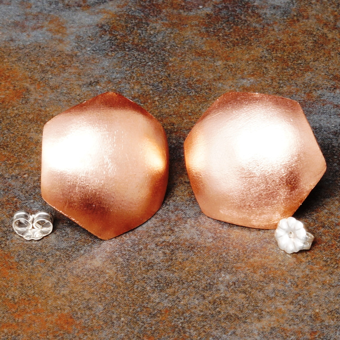 Handmade Convex Large Copper Hexagonal Satin Studs