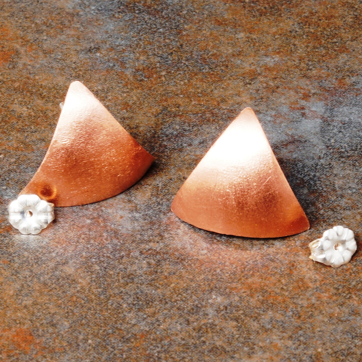 Handmade Large Copper Triangle Satin Studs