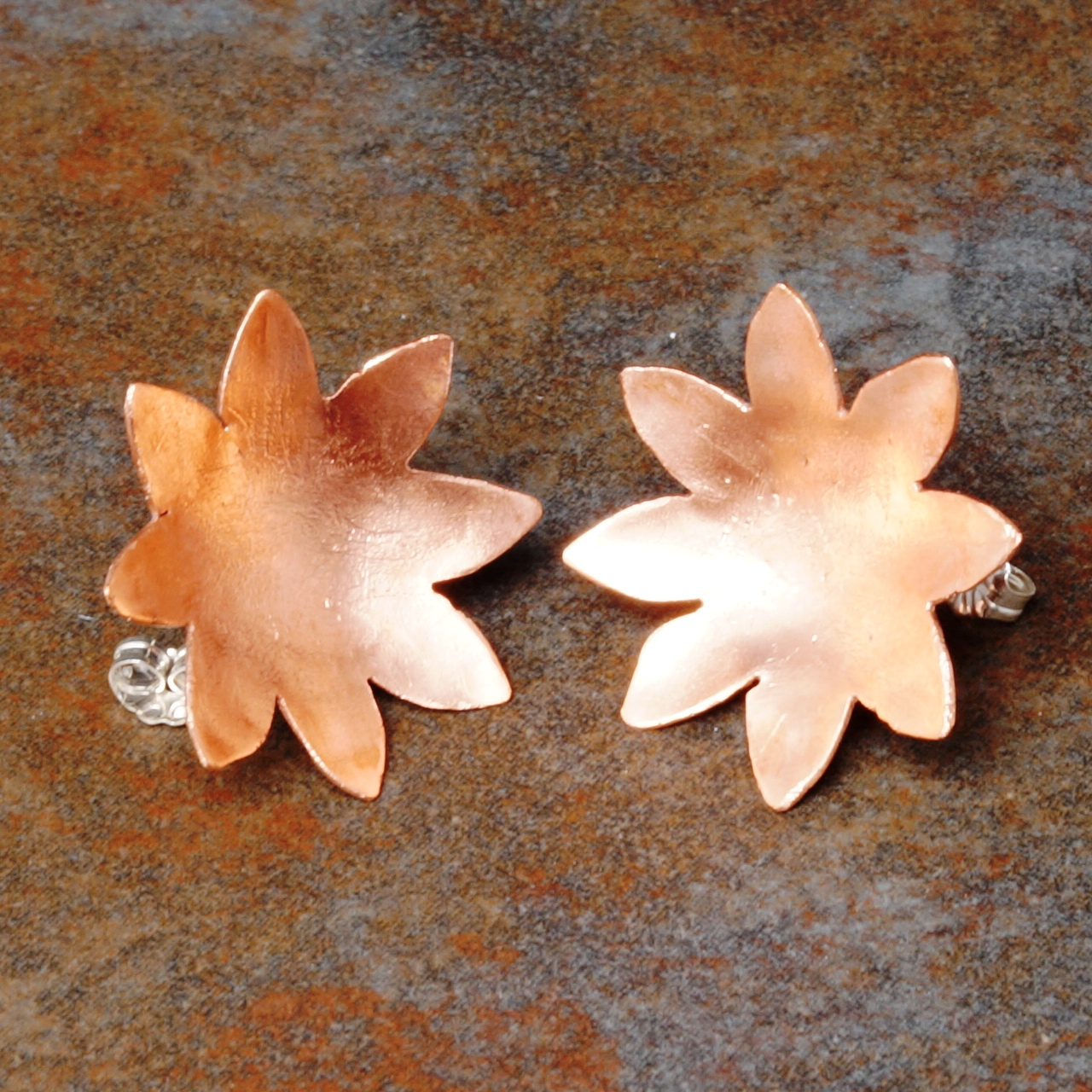 Handmade Copper Flower Satin studs