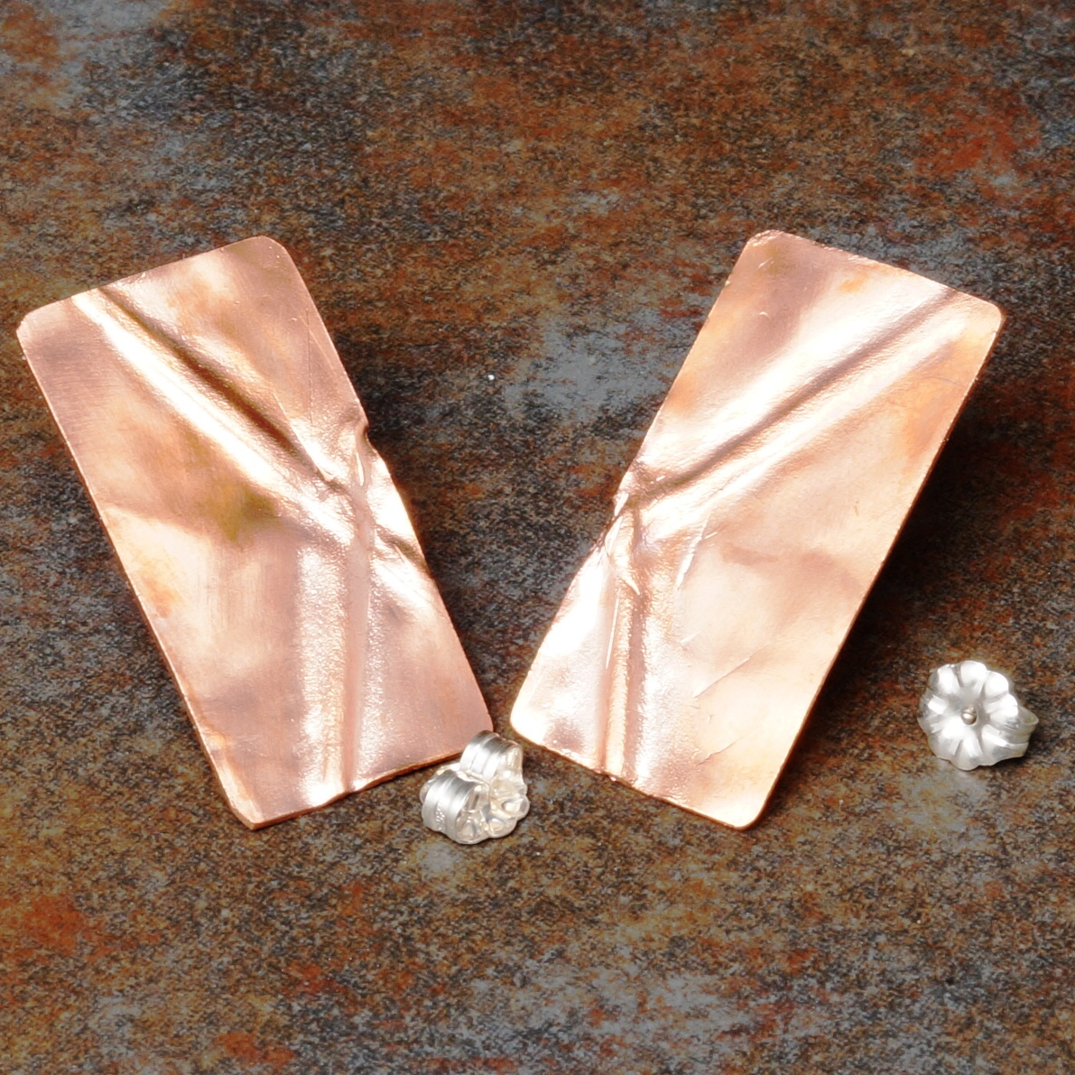 Handmade Copper Folded Rectangle stud earrings
