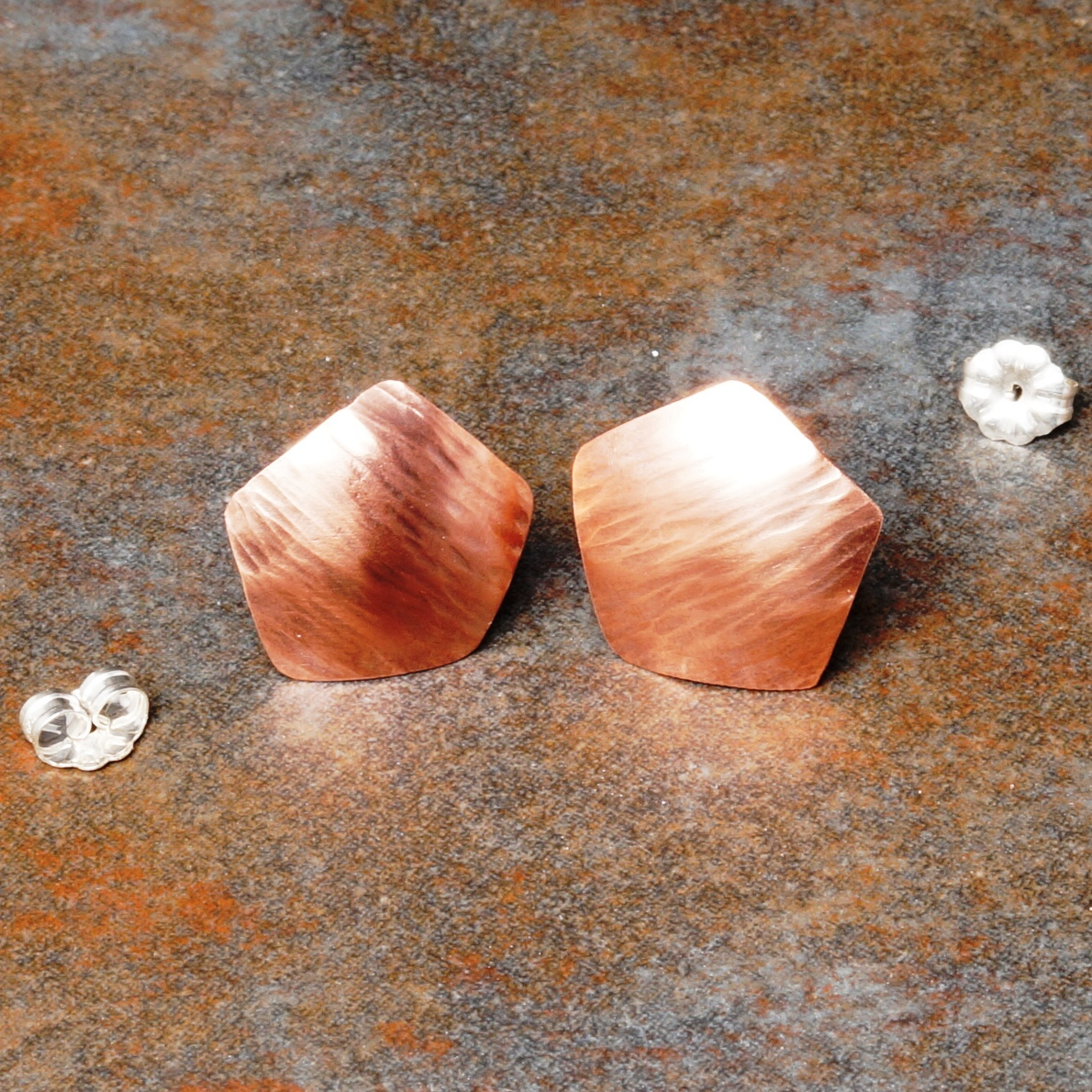 Handmade Copper Pentagonal Bark Textured Studs