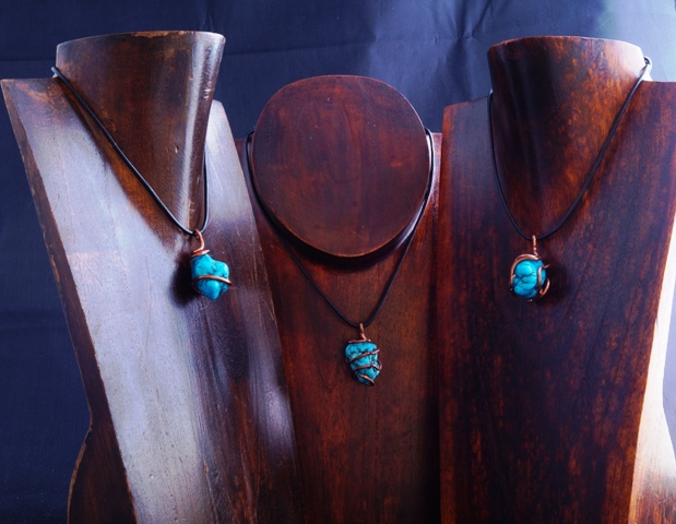 Handmade Copper Wire Wrapped Turquoise Pendants
