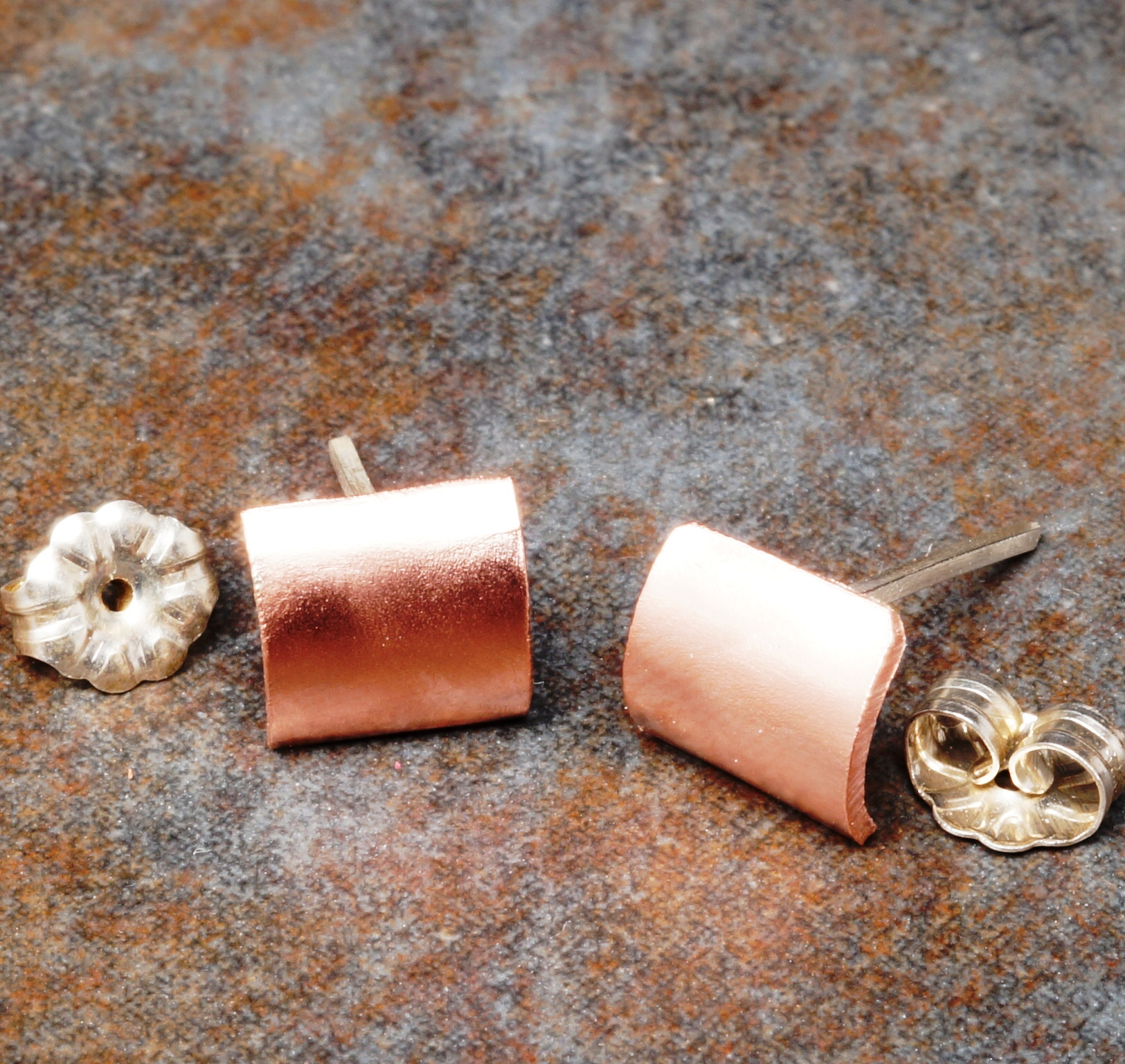 Handmade small copper swaged studs