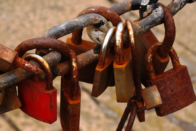Rusted padlocks at the Albert Dock