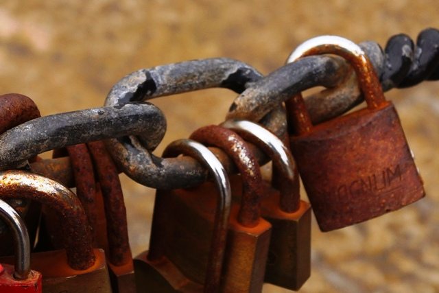 Rusted Padlocks on a chain