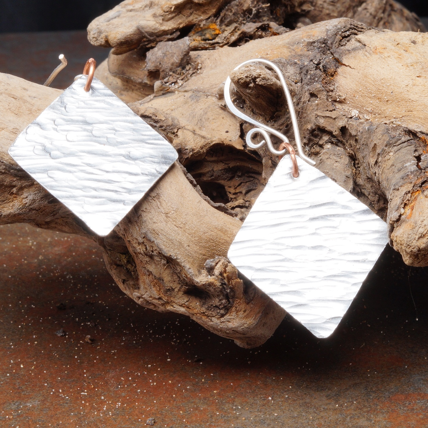 Minimal Aluminum Dangle Earrings with Sterling SIlver ear wires
