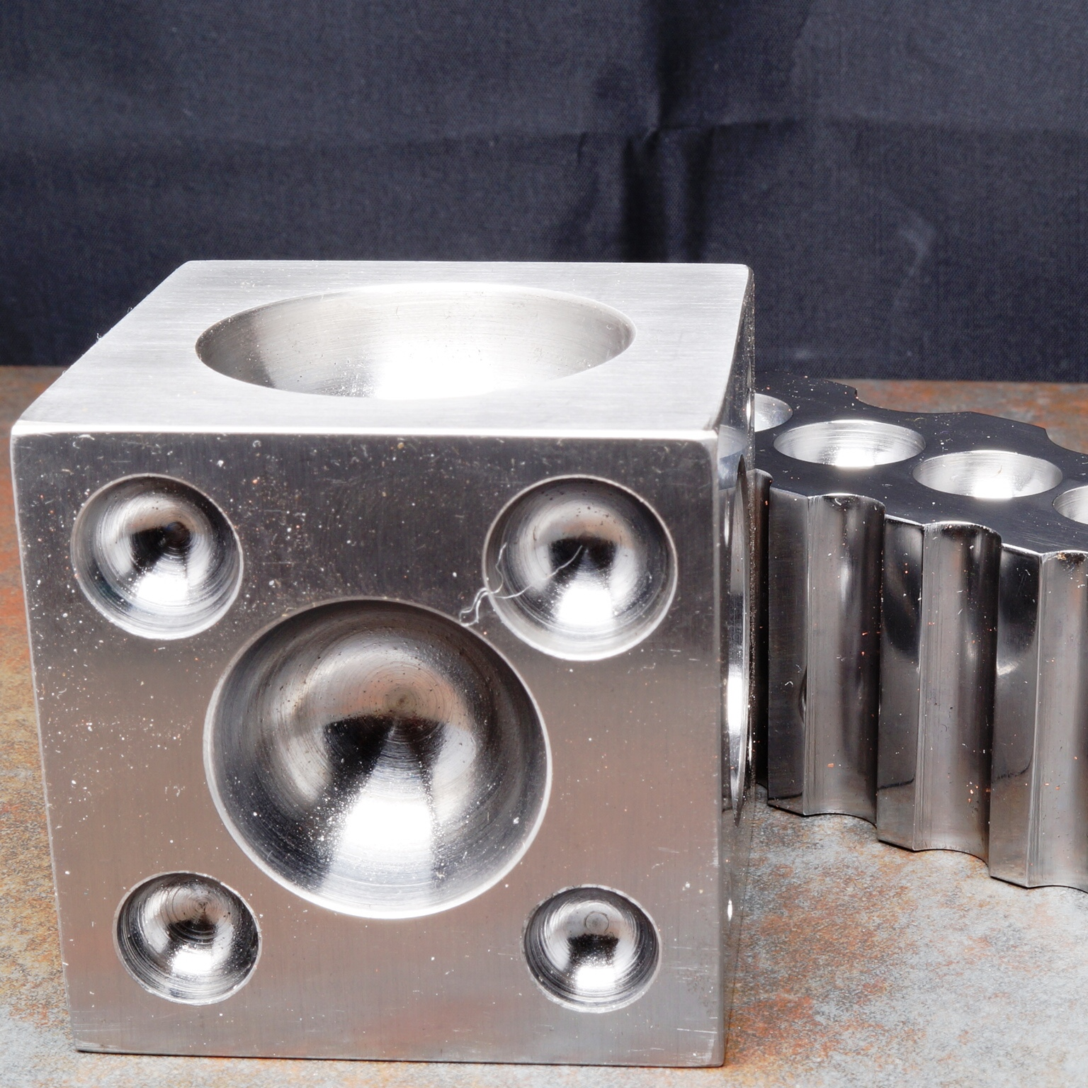 Metal smithing doming cube and swaging block
