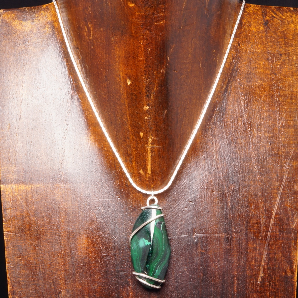 Handmade sterling silver wire wrapped Malachite Pendant