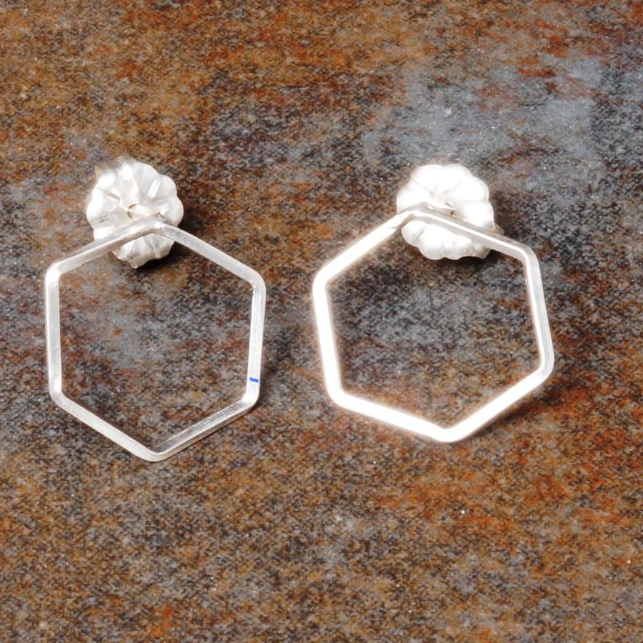 Handmade hexagonal sterling silver studs