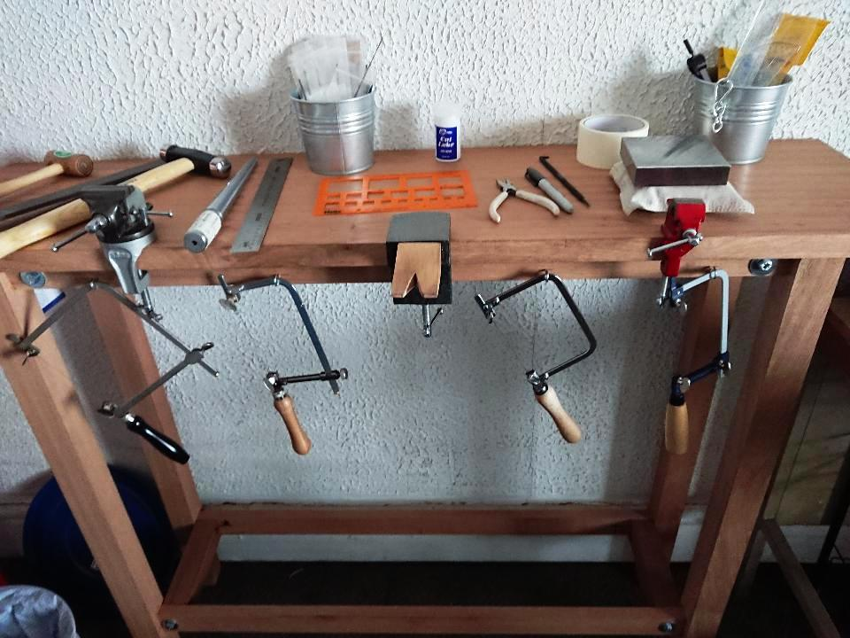 Handmade bespoke jewellers workbench made by Keith Turnings