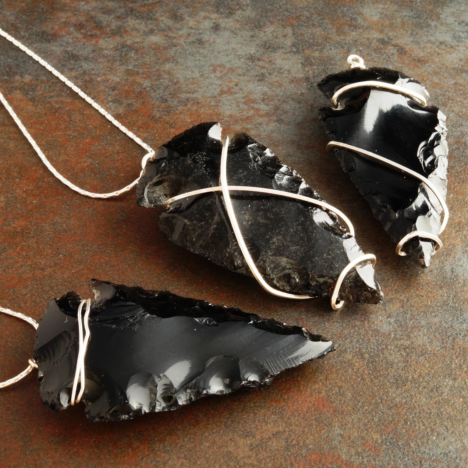 Handmade Freeform Sterling Silver wire wrapped Obsidian Arrowhead Pendants