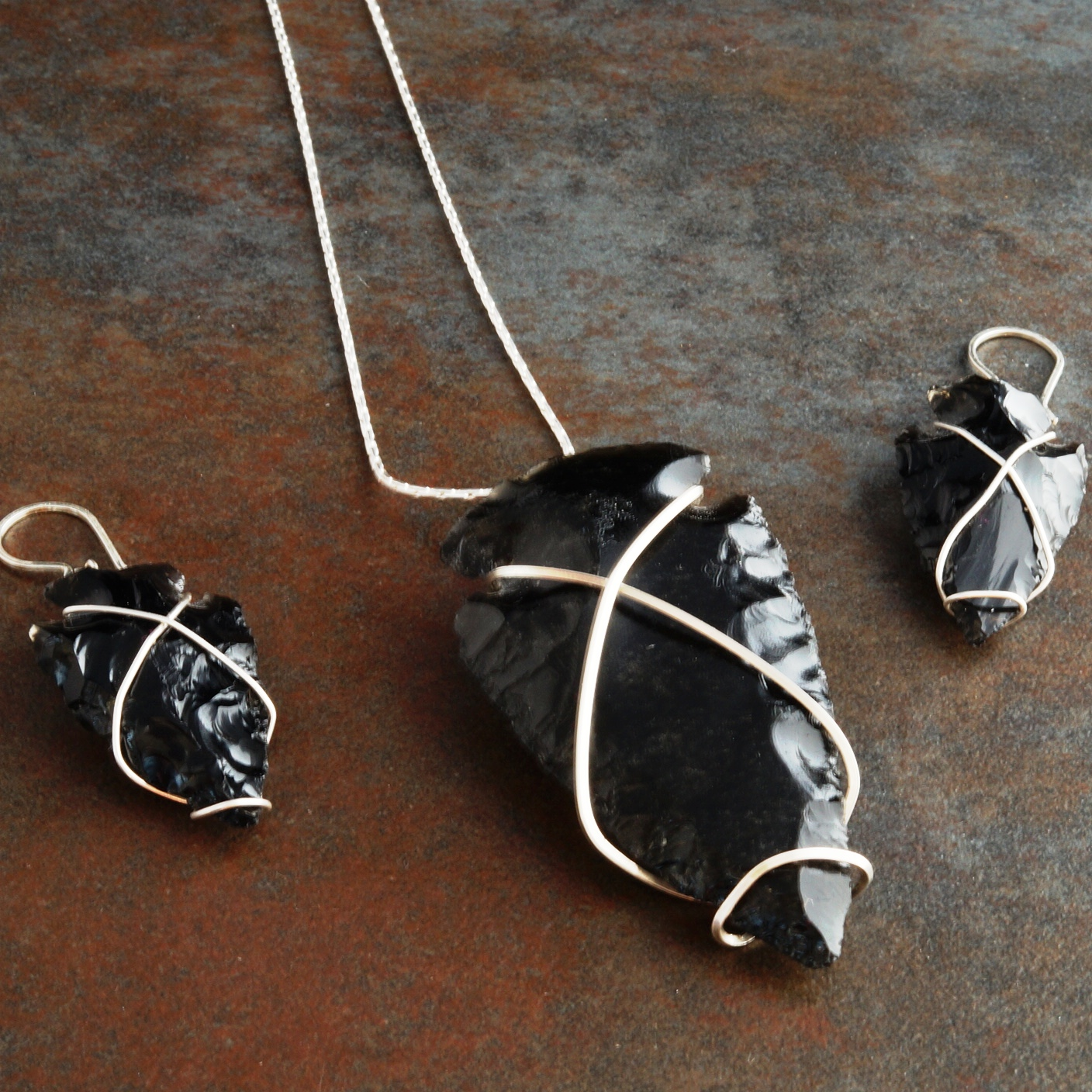Handmade Sterling Silver free form wire wrapped Obsidian Arrowhead Pendant and Earring 01