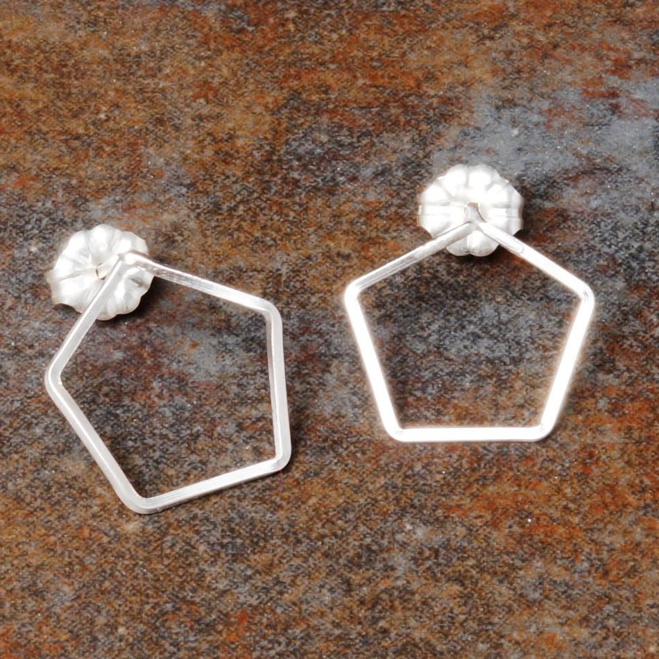 Handmade sterling silver wire pentagonal studs