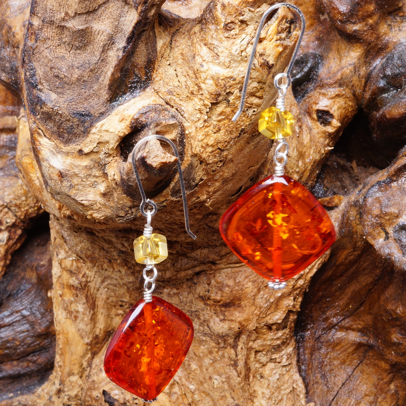 Handmade Sterling Silver Citrine Burnt Orange Amber Earrings 01
