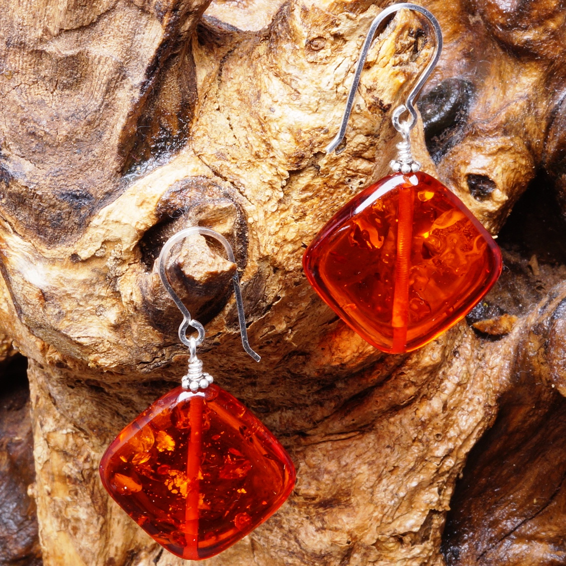Handmade Sterling Silver Burnt Orange Amber Earrings 10