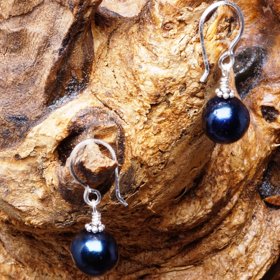 Handmade Sterling Silver Black FWP Earrings 01