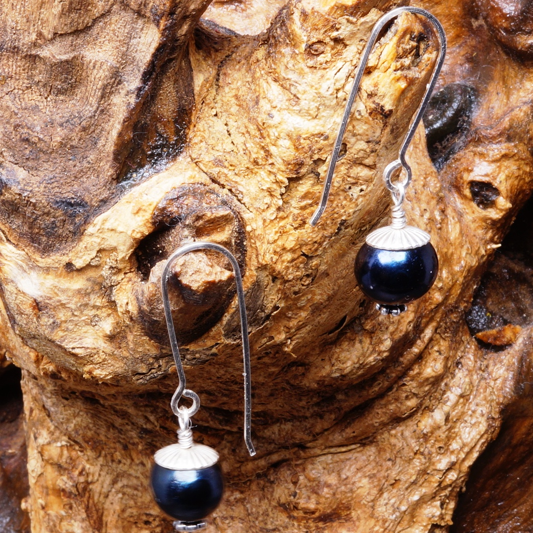 Handmade Sterling Silver Black FWP Earrings 05