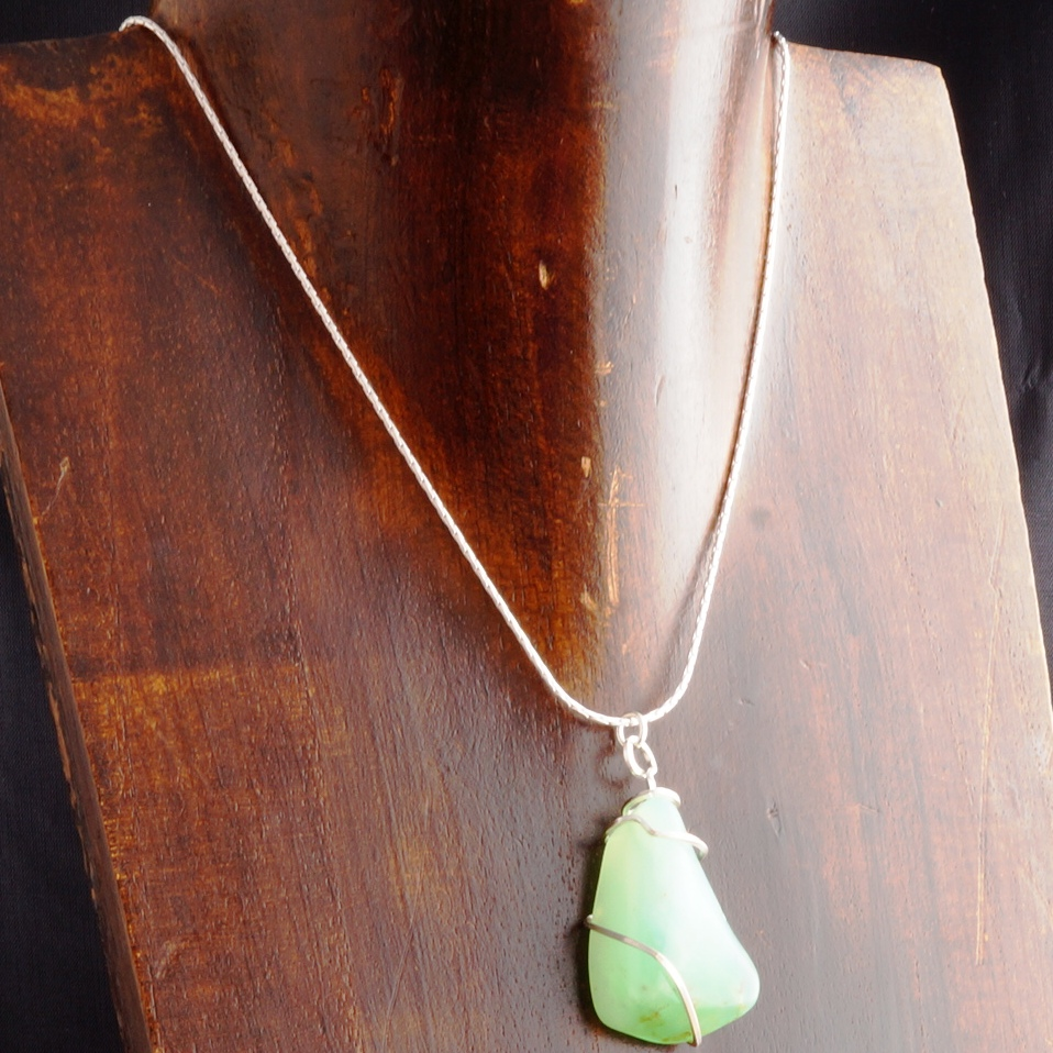 Handmade sterling silver wire wrapped Chrysoprase Pendant