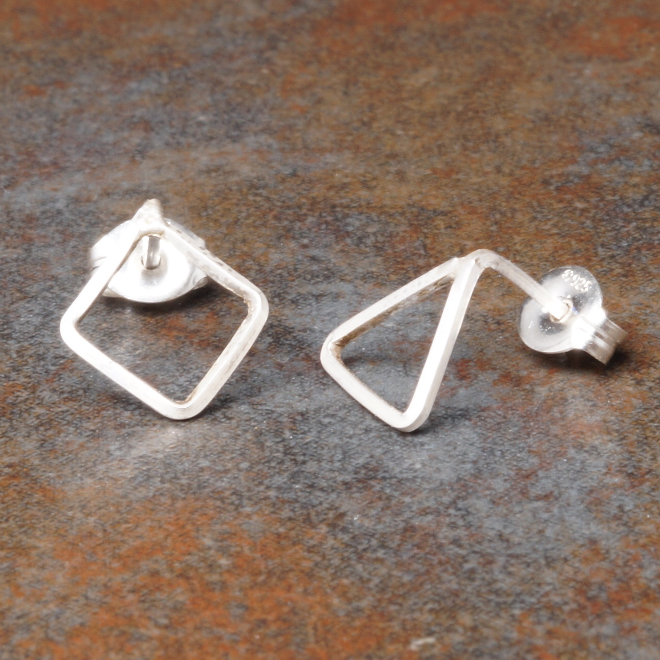 Handmade Sterling Silver Triangle Diamond Asymmetric Studs
