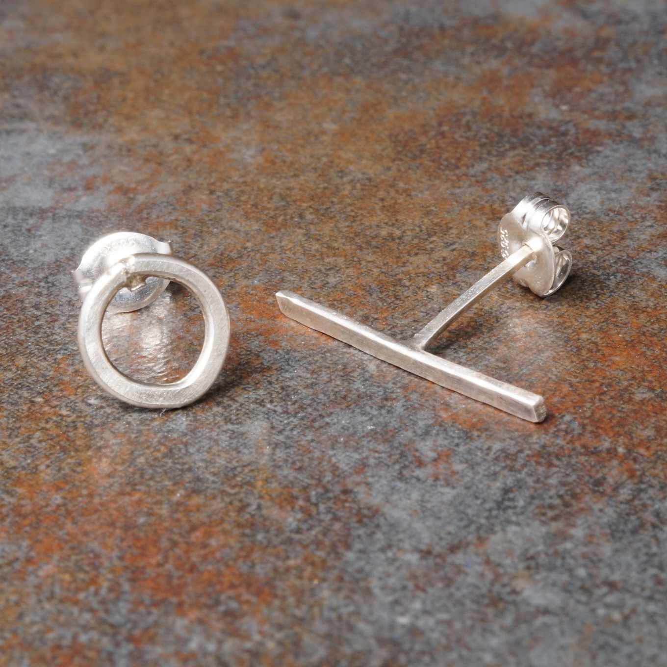 Handmade Sterling SIlver Round T- Bar Asymmetric Studs