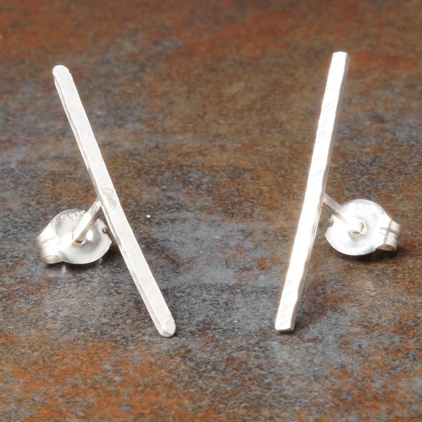 Handmade Sterling SIlver Textured T- Bar Earrings