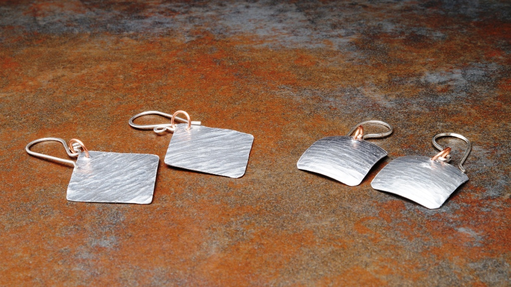 Minimalist Handmade Aluminum Geometric Dangle Earrings with sterling silver ear wires