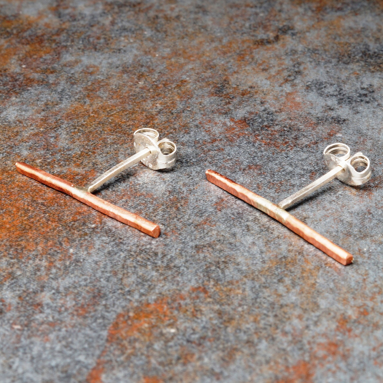 Handmade textured copper bar studs