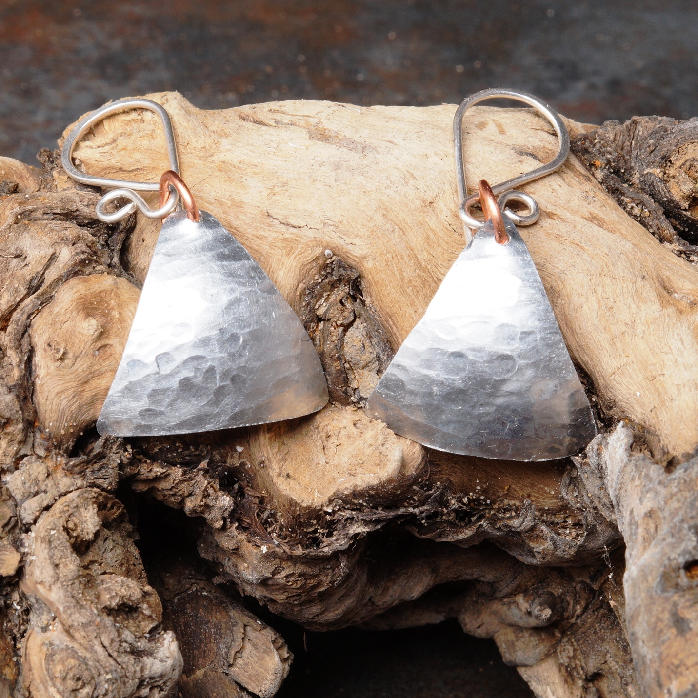 Handmade Textured Triangle Aluminum Dangle Earrings