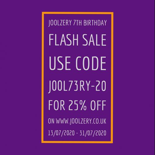 Joolzery 7th Birthday Sale Voucher Code, for handmade sterling silver chakra, healing and spiritual crystal jewellery