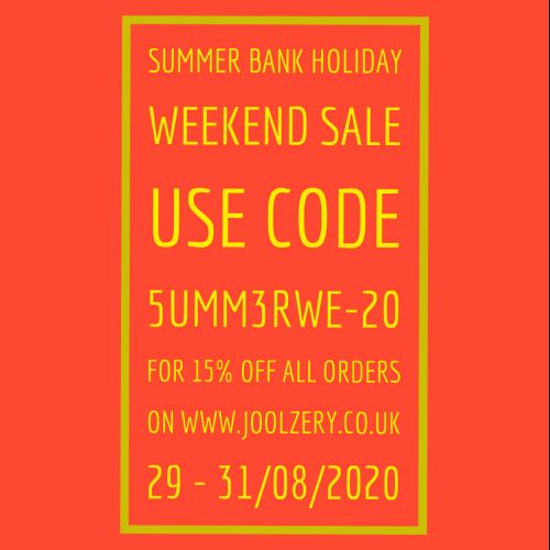 2020 Summer Bank Holiday Weekend Sale Voucher Code 15% off all orders online with code