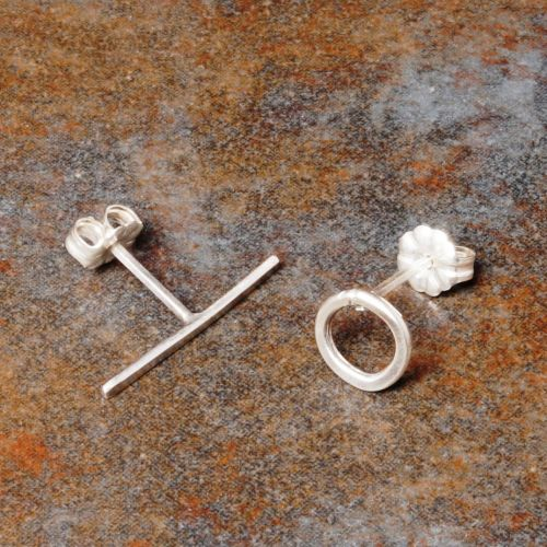 Handmade sterling silver asymmetric stud earrings