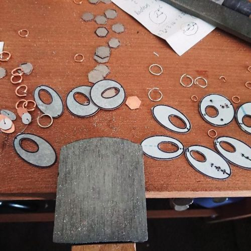 Metal smithing journey, work in progress earrings