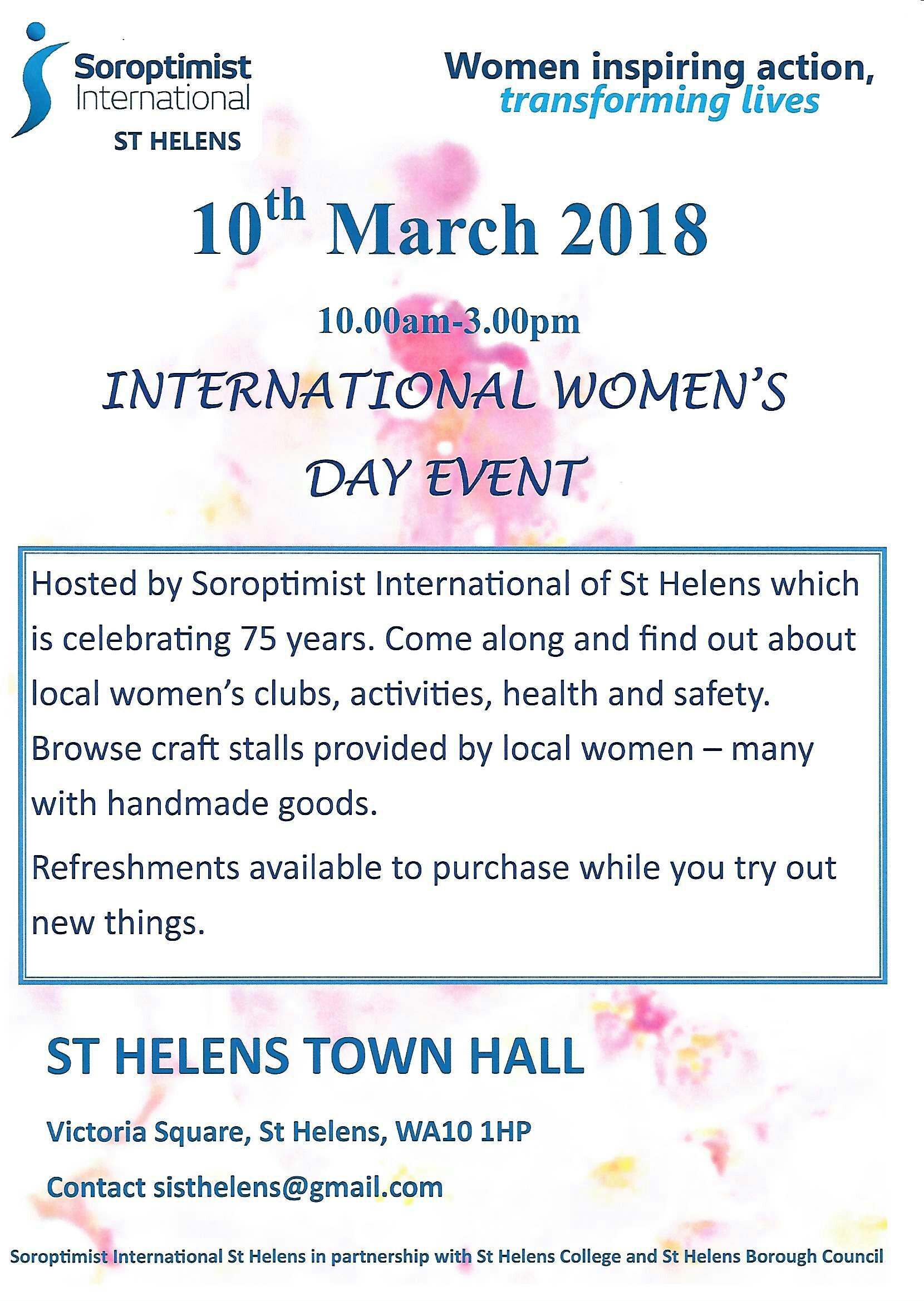 St Helens Soroptimist International Womens Day Flyer