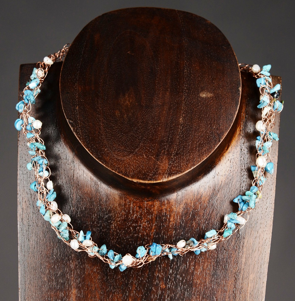 Turquoise and Freshwater Pearl Crocheted Necklace