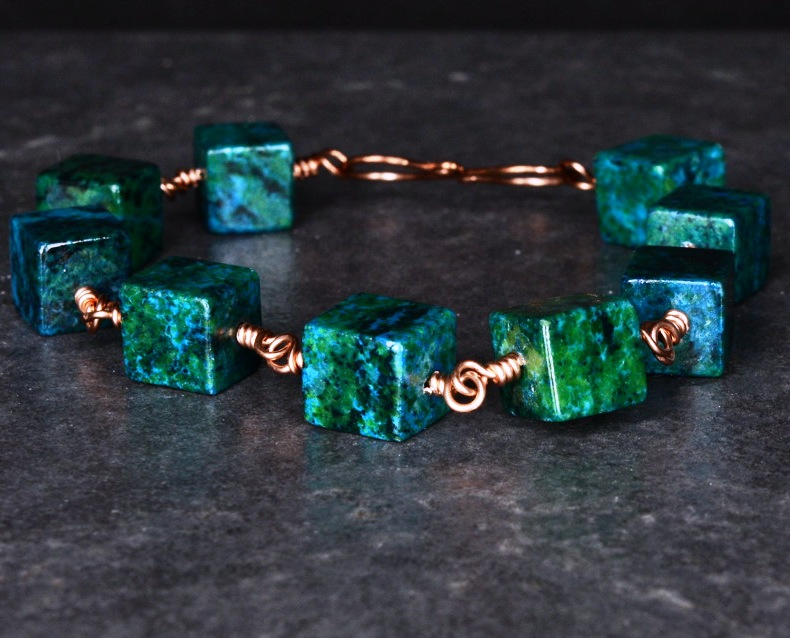 Copper Wire Wrapped Azurite Chrysocolla Bracelet