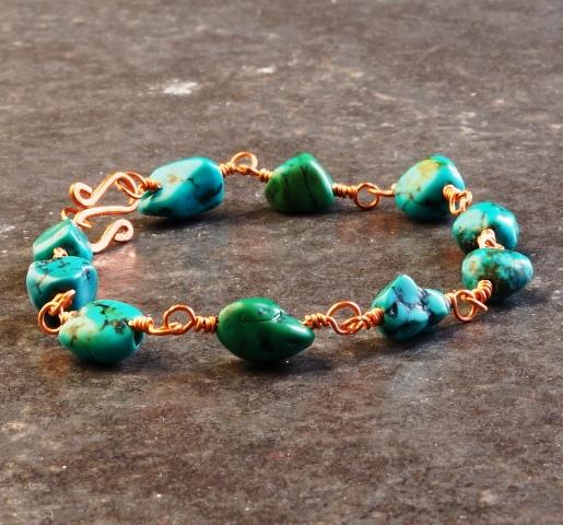 Handmade Copper Wire Turquoise Bracelet