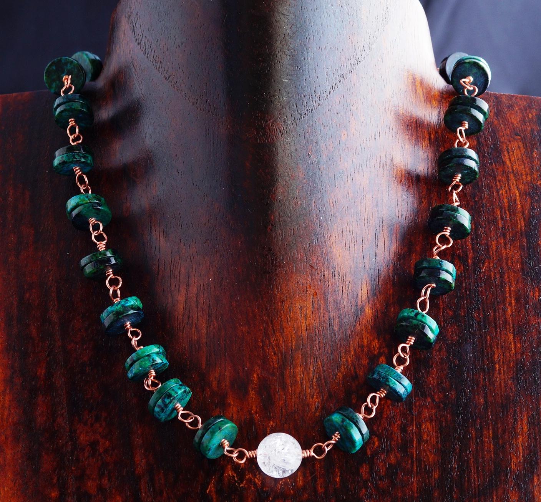 Handmade Copper Chrysocolla Quartz Choker Necklace